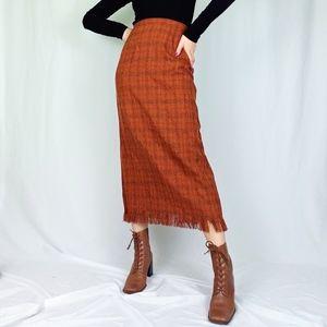 Vintage plaid fringed blanket skirt